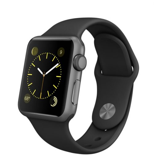Apple Watch Sport – Caixa de 38 mm cinza espacial de alumínio com pulseira desportiva preta