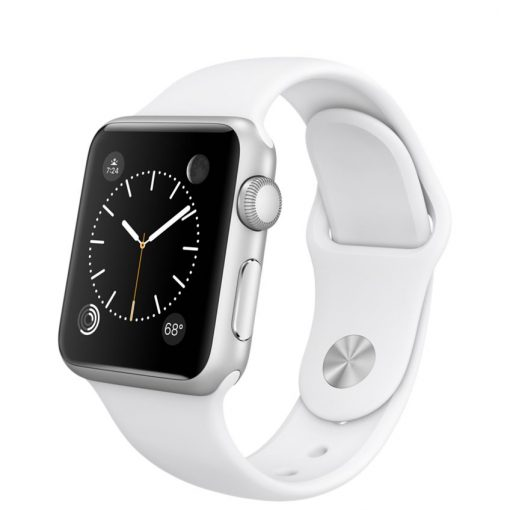 38mm Silver Aluminum Case with White Sport Band