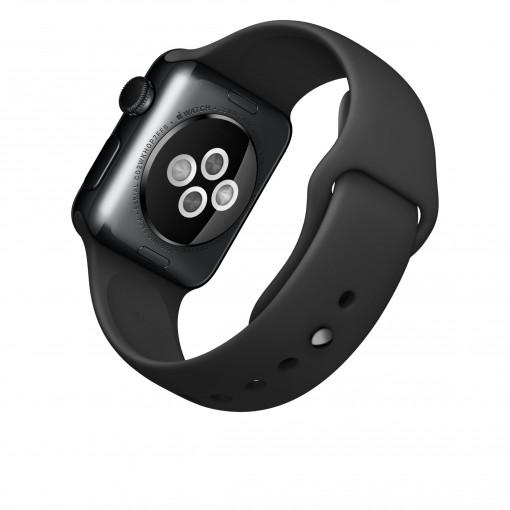 Apple Watch – Caixa 38mm de aço inoxidável negro espacial com pulseira preta desportiva