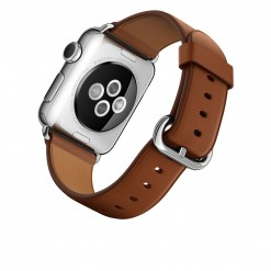 Apple Watch – Caixa 38mm de aço inoxidável com pulseira castanha e fecho clássico