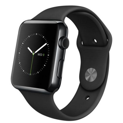 Apple Watch – Caixa 42mm de aço inoxidável negro espacial com pulseira preta desportiva